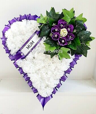 Artificial Silk Funeral Flowers Heart Wreath Tribute  Memorial Rose Mum Dad