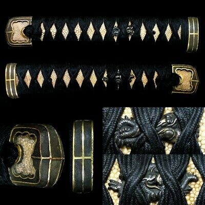 475 Japanese Samurai Edo Antique Beautiful fittings hantachi daito tsuka.