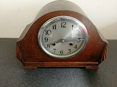 Lovely Vintage Wooden Mantel Clock By Norland Of England With Original Key
