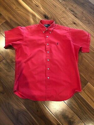 "Polo By Ralph Lauren ""Blake"" Red Short Sleeved Shirt Size L"