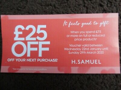 H.M Samuel jewellers £25 off voucher   on £75 spend valid till 29th March 2020