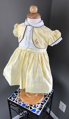 Vtg Baby Girl Baby Togs YELLOW Floral 🌸 Embroidered FULL Circle Dress 🍼