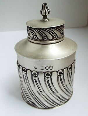 Lovely Decorative English Antique Victorian 1892 Solid Sterling Silver Tea Caddy