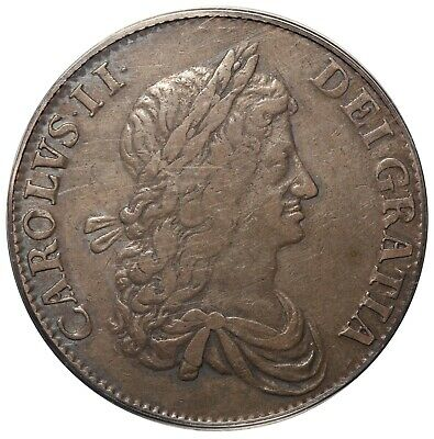 1663 Great Britain One Crown Silver Coin S-3354 - PCGS VF 35 - KM# 417.5