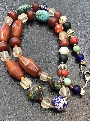 Rare Roman Ancient Afghan Mixed Old Stone Beads Antique Strand Bead Necklace