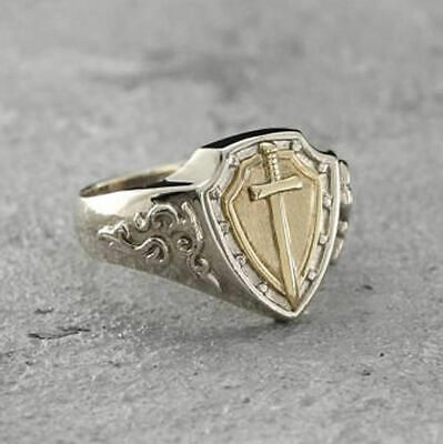 Solid 925 Sterling Silver AAA Cross Knight Signet Gemstone Huge Mens Ring #B36