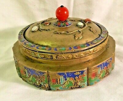 Antique Chinese Jeweled Cloisonne Brass Box Story Panel Semi Precious Stones