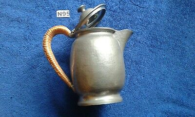 """Arts And Crafts  Pewter Coffee Pot  With Rattan Handle 7"""""""