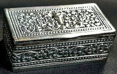 Lovely Antique Late 19th Century Colonial Sri Lankan Ceylonese Silver Snuff Box