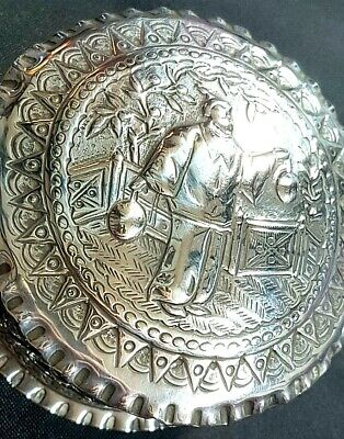 Superb Antique Victorian Solid Silver Chinoiserie Snuff Trinket Box London 1880