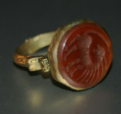 ONE OF A KIND Rare Ancient medieval DRAGON Military Bronze Ring Museum Quality