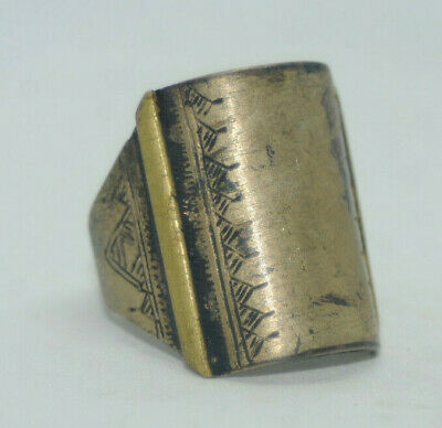 Highly Detailed Scarce Ancient viking Solid shield warrior Ring Circa 100-300Ad