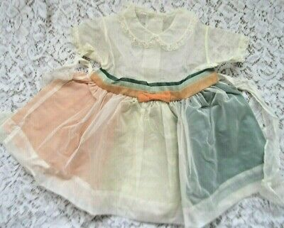 Sweet Vintage Little Girls Organdy Dress w/Tri-Colored Petticoat~Awesome~24 Mo.