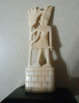 Egyptian Carved,God Osiris, Statue Holding Lily Staff, Ruler of the Netherworld