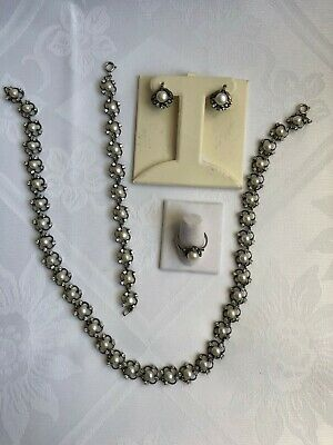 silver set with pearls for women.ring size 8.5