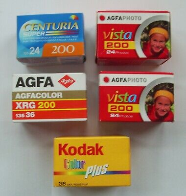 JOBLOT 5 X 35mm EXPIRED COLOUR PRINT FILMS KODAK AGFA CENTURA 144 EXP. 35 mm