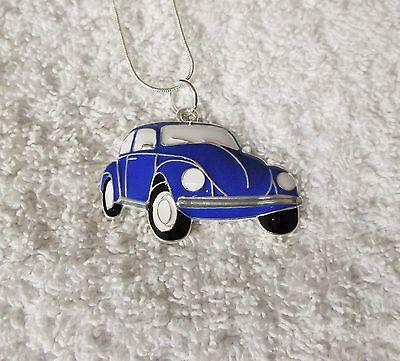 Unwanted CAR Inspired Large Charm NECKLACE Herbie Lovebug Blue Beetle Gift