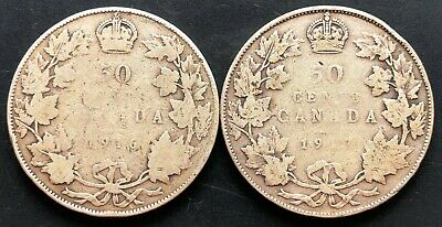 1916 and 1917 Canada Silver 50 Cent Half Dollar Coins - Free Combined Shipping