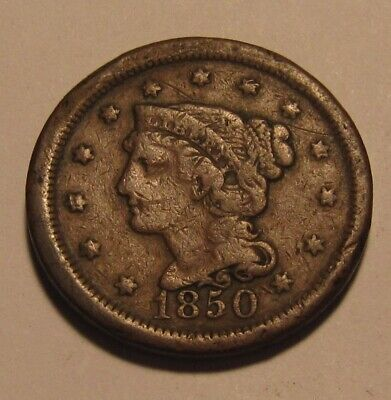 1850 Braided Hair Large Cent Penny - Circulated Condition - 46SU