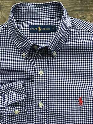 Ralph Lauren Polo Mens 16 Large 42-44 Designer Long Sleeved Gingham Check Shirt