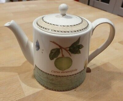 Wedgwood Queen's Ware Sarah's Garden TeaPot, Lime Pattern