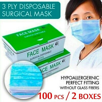 100 Pcs Disposable Face Mask Respirator Surgical Medical Dental Industrial 3 PLY