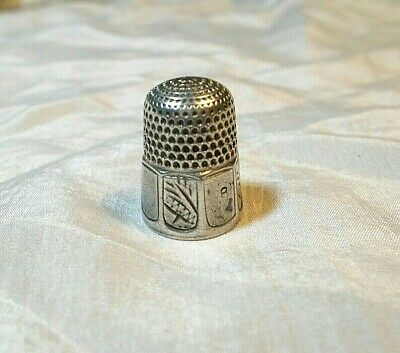 Antique Simons Bros Silver Thimble, 8 Panels - 4 Decorated Wheat or Corn, Size 8
