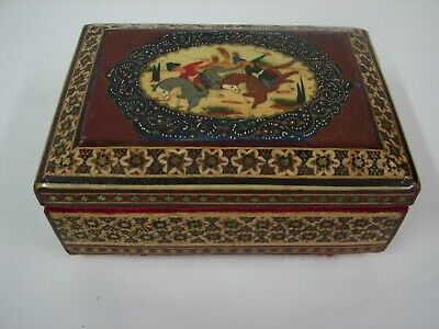 Vintage Chinese Inlay Painted Wood Box Polo (Ji Ju) Figures On Horses