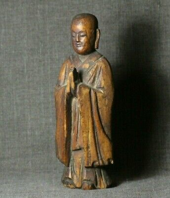 """Antique 19th or Earlier Chinese Carved Gilt Wood Buddhist Monk 6 1/2"""""""