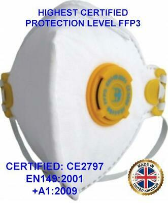 Highest Certified Protection Valved Corona Flu Virus Face Mask FFP3 Respirator