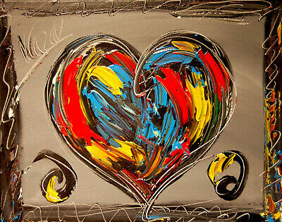 HEARTS ARTWORK  POPART Impasto Impressionism Art Oil Painting Signed