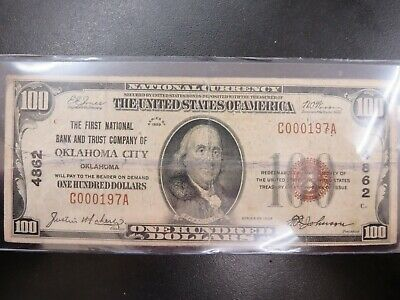 1929 $100 First National Bank And Trust Company Of Oklahoma City