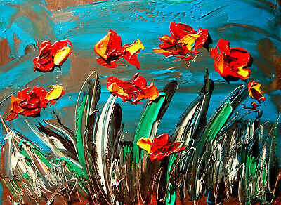POPPIES  ARTWORK   Impasto Impressionism Art Oil Painting Signed M.KAZAV CANADA