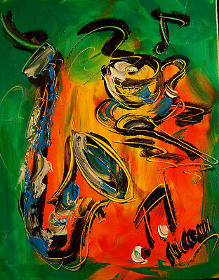 COFFEE JAZZ    Impasto Impressionism Art Oil Painting Signed M.KAZAV CANADA
