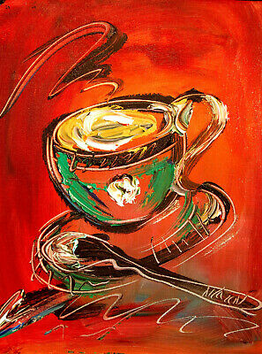 CUP TEA ABSTRACT    Impasto Impressionism Art Oil Painting Signed M.KAZAV CANADA