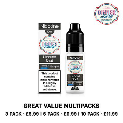 5 Pack - Dinner Lady Nicotine Shots 18mg 10ml Unflavoured Nic Shot 100%VG UK
