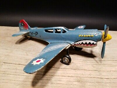Antique Vintage Style Cast Iron Shark Mouth Airplane Toy