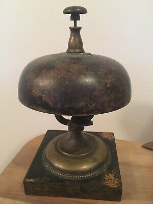 19thC Antique VICTORIAN HOTEL Style BRASS Old FRONT DESK Push Button RING BELL