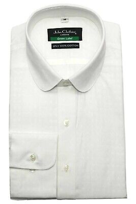 Peaky Blinders White shirt Mens Penny Collar shirt Dots dobby Round Club Shelby