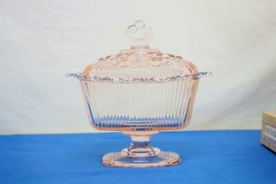 Depression Indiana Pink Lidded Pedestal Candy Dish Open Lace Ribbed Nice