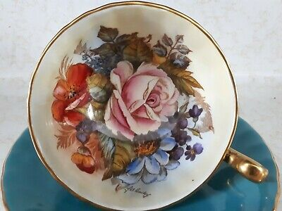 AYNSLEY signed J.A. BAILEY CABBAGE ROSE  Blue  Teacup & Saucer MINT CONDITION