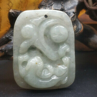 AAAAA Chinese Hand-carved aristocratic wearing Jadeite jade pendant The beast