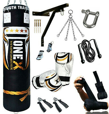 14Piece Boxing Set 5ft Filled Kickboxing Fitness Training MMA Heavy Bag Gloves