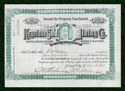 1888 SAN MIGUEL COLORADO Keystone Gold Mining Co Stock Certificate -Early Placer