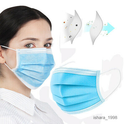 500PCS Disposable Face Mask Medical Surgical Dental Earloop Anti-Dust 3Ply