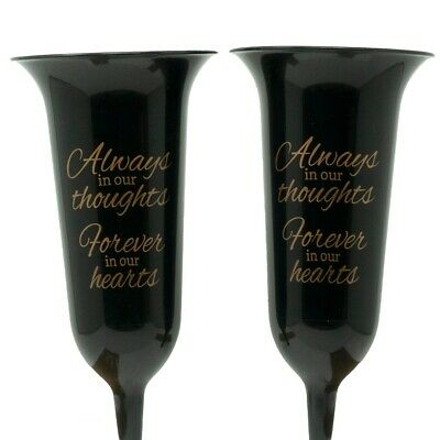 Set of 2 Black & Gold Forever in Our Hearts Fluted Spiked Memorial Grave Flower