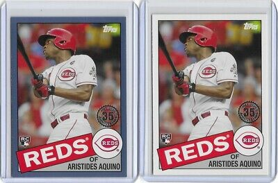 2020 Topps Series 1 Blue Parallel Plus Base 1985 Insert RC Aristides Aquino Reds