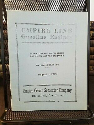 Empire Line Gasoline Engines 1919 Repair List Operating Instructions Hit 'N Miss