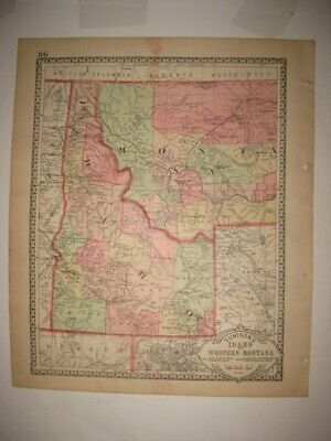 Antique 1888 Wyoming Montana Idaho Handcolored Map Railroad American West Superb
