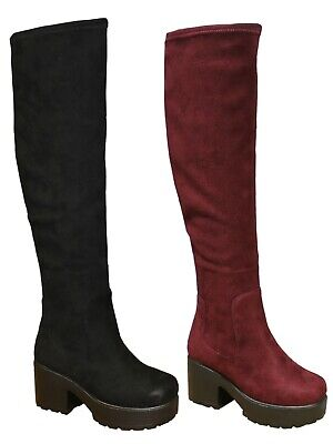 Kids Girls Chunky Block Heel Chelsea Over Knee High Boots Thigh High Platforms